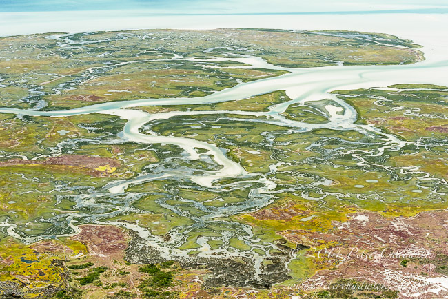 Aerial view of Langebaan salt marsh by wildlife and conservation photographer Peter Chadwick