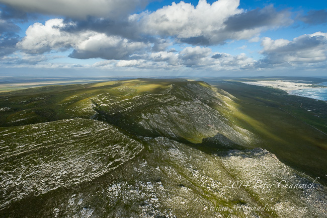 Aerial view of the Agulhas mountains by wildlife and conservation photographer Peter Chadwick