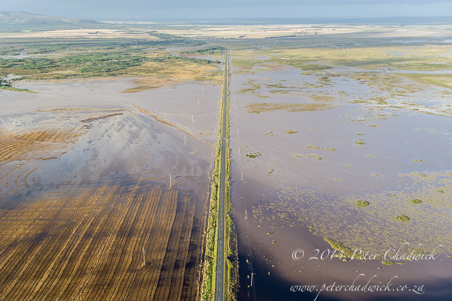 Aerial view of the flooded struisbaai road by wildlife and conservation photographer Peter Chadwick