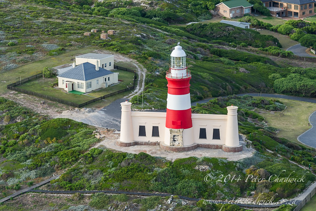 Aerial view of the Agulhas lightouse by wildlife and conservation photographer Peter Chadwick