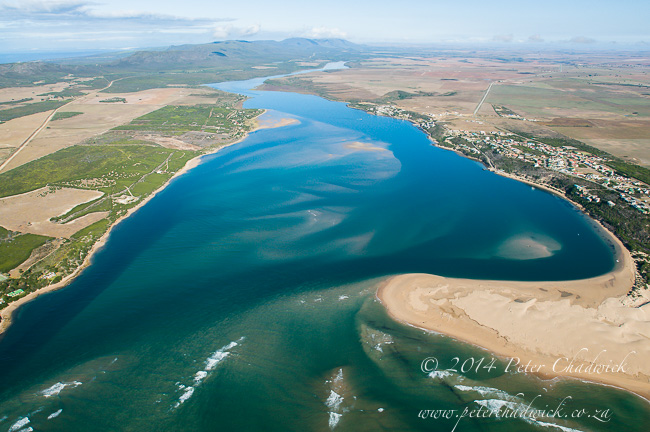 Aerial view of the Breede River estuary by wildlife and conservation photographer Peter Chadwick