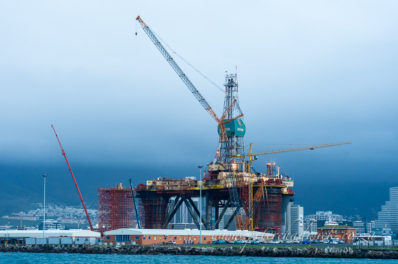 oil rig in the docks by wildlife and conservation photographer Peter Chadwick