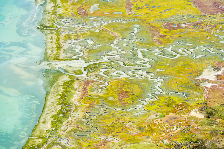 Aerial view of Langebaan Lagoon by wildlife and conservation photographer Peter Chadwick