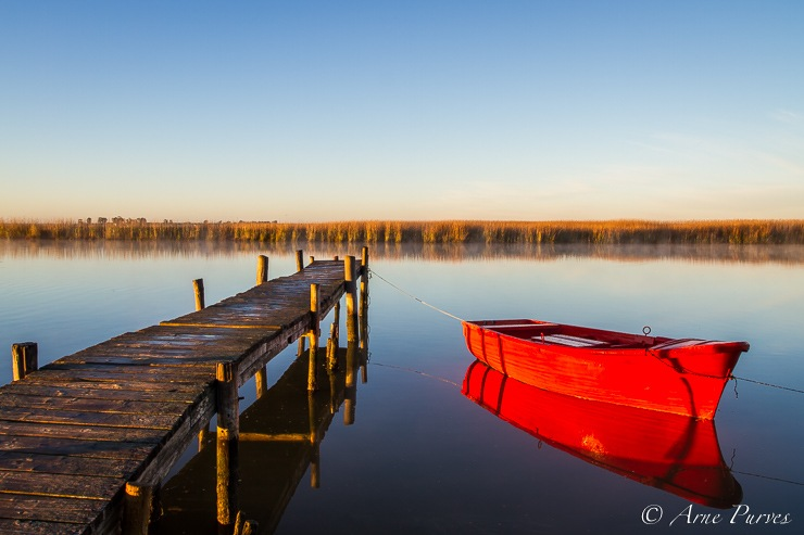 Red Boat And Jetty On The Berg River Outdoor Photography